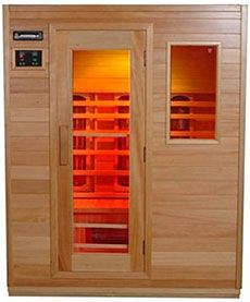 IN-HOME SAUNA  The benefits of spending time in the sauna are fairly well-known, but what's not well known is that you can get those benefits from your own home. The Infusion Three-Person Infrared Sauna ($2300) features healing infrared heat, a magazine rack, reading lamp, AM/FM stereo with CD player, and a digital control panel for adjusting the temperature or setting the timer — all from a standard 110-volt outlet.