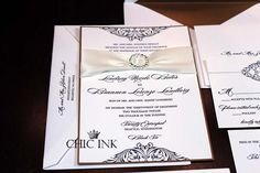 #Letterpress invitations with #rhinestone buckles created at Chic Ink #wedding