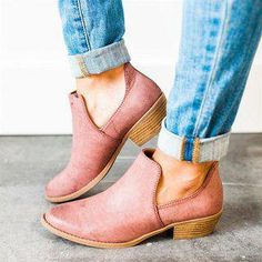 ceb4497d2361 Women Cut Out Ankle Slip-On Booties Low Heel Cute Short Boots  winterboots  Low