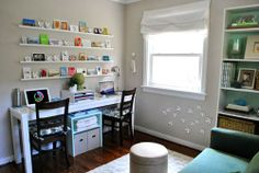 Kids homework station - I like the storage underneath, on top and ledges above for books and frames.