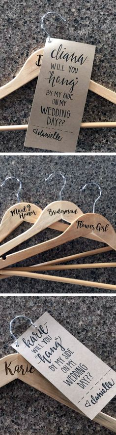 """Will You Hang by My Side"" Hangers for Bridesmaid Proposals  by Molly Meester Designs                                                                                                                                                                                 More"