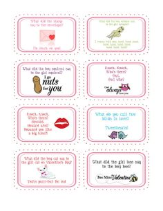 Printable Valentine Jokes print these cute sayings onto OnlineLabels.com full sheet #labels and cut with scissors.  Great for labeling #Valentines Day gifts and treats.