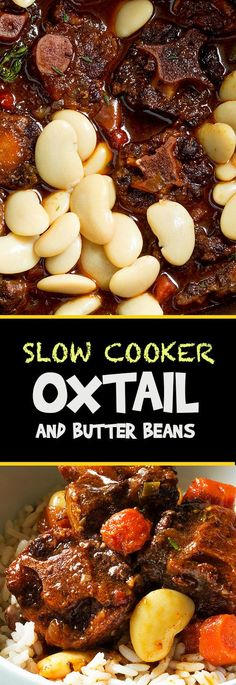 This slow cooker oxtail and butter bean recipe has everything you could ever wan. This slow cooker oxtail and butter bean recipe has everything you could ever want in a beef stew. It is hearty and super satisfying and not . Jamaican Dishes, Jamaican Recipes, Haitian Food Recipes, Jamaican Ox Tails Recipe, Rice And Peas Jamaican, Jamaican Oxtail Stew, Jamaican Stew Peas, Jamaican Chicken Soup, Bon Appetit