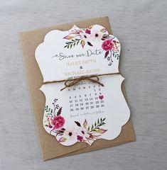 Floral Boho speichern Sie die Datum-Karte von LoveofCreating