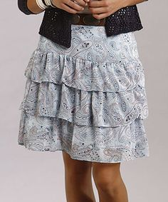 Throw on this haute hippie skirt for style that just won't quit. With playful tiers of ruffles and a light paisley print, it's the perfect piece of pretty that fashion-forward ladies have been longing for.