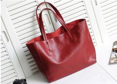 Women Red Leather Tote BagShoppercomputerIpadMacBook Bag by NewBag, $89.90