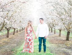 With almond blossoms surrounding them from all angles, this beautiful couple had an awe inspiring backdrop for their orchard engagement photos! Engagement Photo Outfits, Engagement Couple, Engagement Pictures, Engagement Shoots, Wedding Engagement, Engagement Parties, Country Engagement, Camo Wedding, Winter Engagement