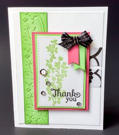 Thank You Girly Embossed Thank You Card by BeautifullyMadeCards