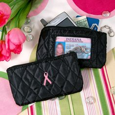 Breast Cancer Awareness Quilted Coin Purse with ID Holder