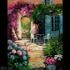 Italy Garden Courtyard Patio Flowers Original Modern Oil Painting Yary Dluhos