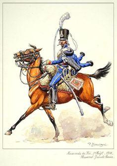 Hussards du roi, 1er régiment 1814, en grande tenue.