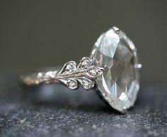 Cathy Waterman — Love of My Life Collection — Platinum / Diamond 3.78ct Rose Cut Oval Diamond Ring
