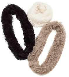 Wrap yourself in this fluffy faux fur infinity scarfadding an oh-so-comfy chic touch to yourwinter style. 63''x8'' Black, Beige, orTaupe