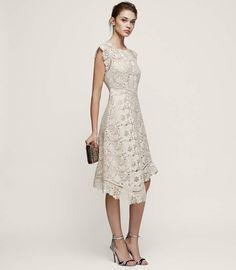 924b1f47b9b REISS Lucy - Lace Midi Dress in Warm Grey Lace Midi Dress