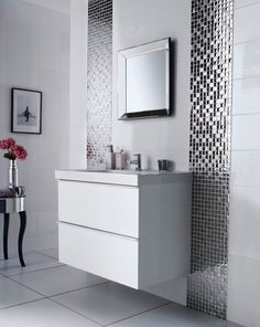 Bathroom  White Mounted Wall Sink Cabinet Plus Glossy Bathroom Tile Ideas Also Vertical Mirror And Small Flower Vase Admirable Bathroom Tile Ideas for Attractive Home Design