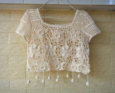 CROCHET CROP TOP NATURAL COLOR SHORT BLOUSE WOMEN HIPPIE CLOTHES