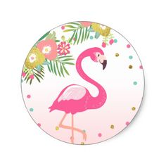 Shop Flamingo Tropical Birthday Envelope Seal Sticker created by Anietillustration. Gold Birthday Party, Flamingo Birthday, Pink Birthday, Flamingo Wallpaper, Flamingo Art, Flamingo Party Supplies, Jungle Balloons, Printable Scrapbook Paper, Tropical Party
