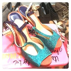 Thunder Up Heels Love these blinged out pumps! Would be so cute to wear to an OKC Thunder game with those blues and orange colors in there. Only worn once for a sorority event. Great condition. Gianni Bini Shoes Heels