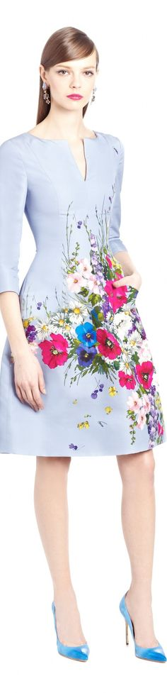 Oscar de la Renta spring 2015 - a true floral celebration. Love the little pocket. #embroidery