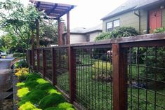 Preferred stain color and rail fill color and fence framing. Backyard Fences, Outdoor Landscaping, Front Yard Landscaping, Outdoor Gardens, Landscaping Design, Yard Design, Fence Design, Railing Design, Metal Fence