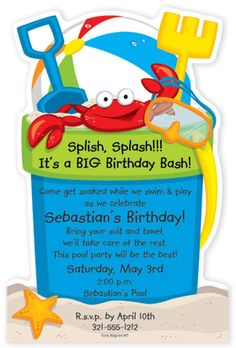 OUT OF STOCK You will love our fun and colorful Beach Bucket Beach party design. Card is flat with perforated edge that is detached after printing. Designed for any pool party or beach party in mind, fun accents such as a beach ball, sand toys and a cute Bright red crab to complete this fun invitation. Includes white envelopes.