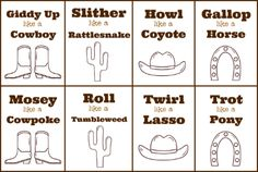 Cowboy Gross Motor Activity - Pre-K Pages Gross Motor Activities, Gross Motor Skills, Party Activities, Toddler Activities, Team Building Activities, Preschool Themes, Preschool Lessons, Classroom Themes, Preschool Classroom
