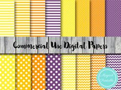 halloween theme digital papers, yellow, orange, purple digital papers