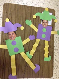 Kindergarten Mardi Gras Jesters......glue students' faces onto the pattern and hang. This could also be turned into a glyph.