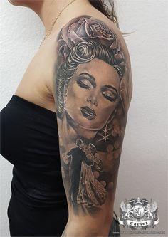 Dance, Rose, Portrait, Black and Grey tattoo, Realistic tattoo