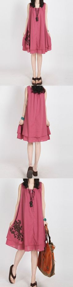 Summer Linen Loose Casual Dress! Click The Image To Buy It Now or Tag Someone You Want To Buy This For. #MiniDress