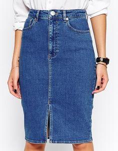 ASOS Split Front Denim Midi Pencil Skirt - This is per-fect right? I love the split front on this denim skirt. http://asos.do/h5kjyA