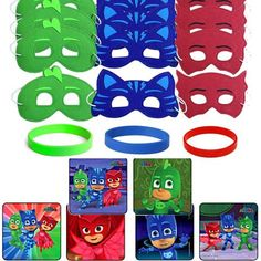 24 PJ Masks Party Favor Stickers, 12 Hero Masks & Wristbands King Birthday, Baby Boy Birthday, Third Birthday, 4th Birthday Parties, Birthday Ideas, Themed Parties, Birthday Fun, Birthday Celebration, Pj Masks Party Favors