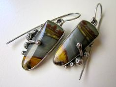 Intense Obsessions - primitive organic slate blue gray mustard picasso jasper stone, gnarled prongs, sterling silver bezel metalwork earring