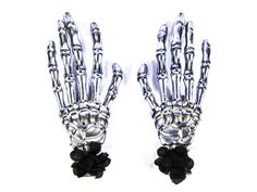 Hairy Scary Silver Skeleton Halloween Hades Hands w Black Hair Clip Set [HS05SilverwBlack] - $12.00 : Mystic Crypt, the most unique, hard to find items at ghoulishly great prices!