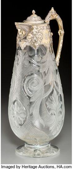 Silver Holloware, British, A Victorian Parcel-Gilt Silver, Intaglio, and Cut-Glass Claret Jug,Sheffield, circa 1874. Marks: (lion passant), (crown), (...