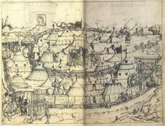 Wolfsegg Housebook(Hausbach) 15th Century 1480ish. Fictional encampment part of a treatise of defense