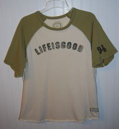 Life is Good Men's Medium Short Sleeve T Shirt Cream Green Cotton #LifeIsGood #BasicTee
