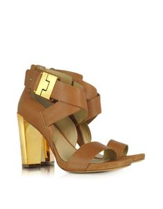 Brooklyn Camel Brown Leather Sandal - Signature box included.