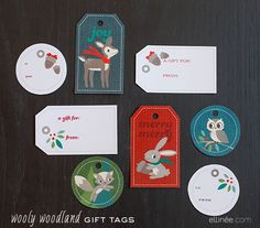 Printable Wooly Woodland Christmas Gift Tags
