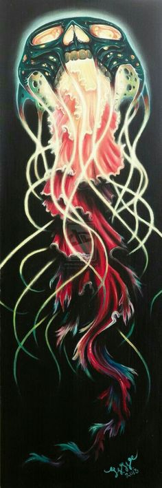 """Skull Jellyfish"" acrylic on canvas by Whitney Wilkinson… Jellyfish Painting, Jellyfish Tattoo, Jellyfish Drawing, Jellyfish Facts, Jellyfish Light, Jellyfish Aquarium, Painting Inspiration, Art Inspo, Tattoo Studio"