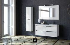 Mueble modelo LOA de 60 + 60 (dos módulos). Encimeras Moonstone y Espejo Ocean 120. Columna 35cm. Acabado Blanco brillo.