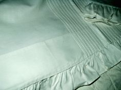 Antique Victorian Pair White Pillow Shams Lay Over Style Ruffle Edge Rows Of Tucks $65.00 - The Gatherings Antique Vintage