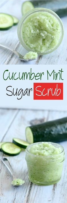 Cucumber Mint Sugar Scrub–Soften up that dry flaky skin with this all natural sugar scrub. It is so easy to make!I tried homemade sugar scrubs for the first time last year, and now I'm addicted.