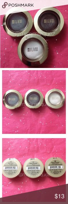 "Milani Trio Eyeshadows New & Sealed. 3 Milani Eyeshadows.  Colors: #10 ""Bella Gray"" Satin Matte   #11 ""Bella Charcoal"" Shimmer  #30 ""Bella Diamond"" Highlighter/Shimmer  🚫NO TRADE. Milani Makeup Eyeshadow"