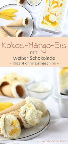 {Anzeige} Sommerfeeling - Kokos-Mango-Eis mit weißer Schokolade - #eis #eiscreme #kokosmangoeis #mangoeis #kokoseis #icecream #eisohnemaschine #eifrei Parfait, Ice Ice Baby, Fabulous Foods, Meringue, Finger Foods, Cereal, Ice Cream, Yummy Food, Snacks