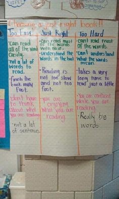 "Choosing a ""just right"" book anchor chart in classroom library."