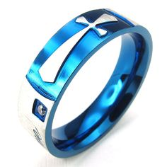 * Penny Deals * - TEMEGO Jewelry Mens Womens Stainless Steel Cubic Zirconia Cross Love Couples Promise Ring Wedding Band, Blue *** Read more reviews of the product by visiting the link on the image.