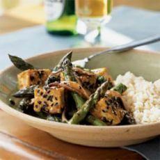 Sesame Tofu Stir-Fry over Rice  *change to vegetable broth*
