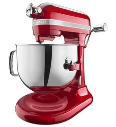 KitchenAid® Pro Line® Series 7-Qt Bowl Lift Stand Mixer. This robust motor, the backbone of our new mixer, delivers .44 HP to the bowl enabling your mixer to deliver consistent power to small and large loads with less heat build-up; resulting in years of dependable mixing. When combined with and guided by our new advanced motor control board, this is our longest lasting and most efficient motor yet. Shown in Candy Apple Red.