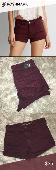 Maroon Jean Shorts These are super comfy and cute maroon super stretch jean shorts. It was only worn a few times and it's in great condition. American Eagle Outfitters Shorts Jean Shorts